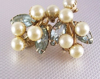 1940's Vintage Pearl Rhinestone cluster earrings clip on riveted settings blue aqua  rhinestone