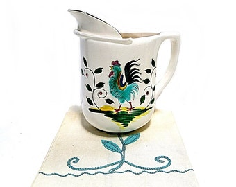 Pottery Pitcher Rooster Vintage 1950s Leaves & Branches Blue Green on Cream Background