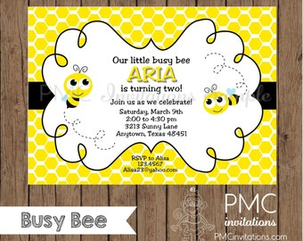 Custom Printed Bumble Bee Birthday, Baby Shower Invitation - 1.00 each with envelope