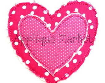Machine Embroidery Design Applique Raggy Heart INSTANT DOWNLOAD
