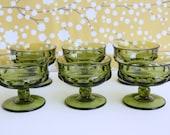 Vintage Green Dessert Dishes, Pedestal, Indiana Glass Kings Crown, Set of 6