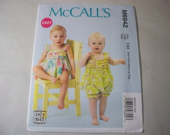 New McCall's,  Baby Romper Pattern, M6942  (Free US Shipping)