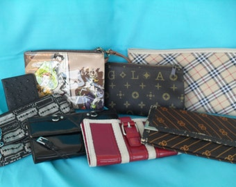 Vintage Wallet Make Up Bag Pouch Collection 70's 80's 90's Mixed Lot Jewelry Case, Note Pad