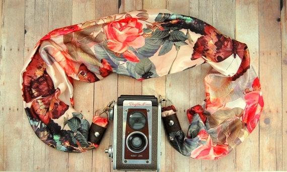 DSLR/SLR Camera Strap scarf style in springtime floral
