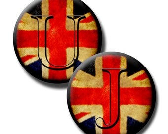 Union Jack Letters  – 1 inch and 1.25 inch circles - (2) Digital sheets