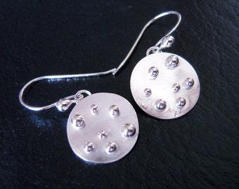 Metalwork Earrings, Argentium Silver Earrings, Sterling Silver Earrings, Hand Made, Original Earrings, Unique Earrings