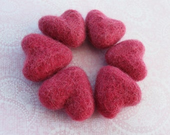 Felt Rasberry Pink Hearts - 6 Pure Wool Beads 30mm -