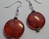 Dark Amber Coin Earrings  E1287