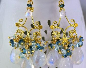 Gemstone jewelry by skyvalleyjewelry on etsy moonstone chandelier earrings london blue topaz swiss blue topaz 14k gold filled wire wrapped earrings mozeypictures Gallery