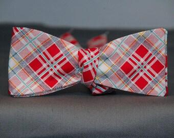 Red, White & Aqua Plaid  Bow Tie