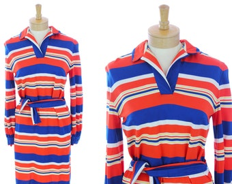70s Mod Dress Shift Red White Blue Stripes 1970s Retro Funky 60s 1960s Shirt Dresses Mini Psychedelic Large L