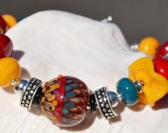 JAZZED UP-Handmade Lampwork and Sterling Silver Bracelet
