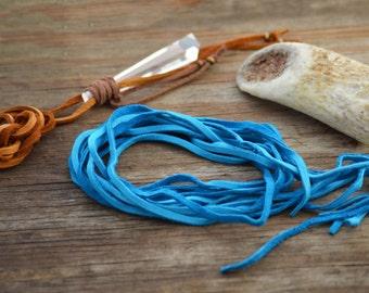 Turquoise Blue Deer Suede Leather, 3mm x 40 in strap (1 pcs) / Deerskin, Deer hide, Buckskin, Soft Deer Suede, Jewelry Supplies