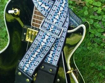 Blue, purple Bohemian Guitar Strap, vintage style jacquard trim, classic and handmade! Hootenanny Ace type trim