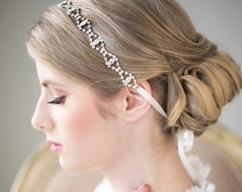 Crystal Ribbon Headband, Wedding Headband, Bridal Rhinestone Headband, Ribbon Headband