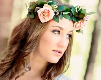 Rose Wedding Crown, Bohemian Rose Headpiece, Flower Wedding Headpiece, Pink Flower Bridal Headpiece, Flower Hair Wreath