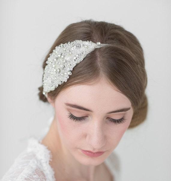 bridal headband wedding ribbon headband ivory rhinestone headband