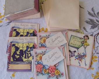 Vintage 1950's Small Size Party Invitation Cards and Envelopes in original box.