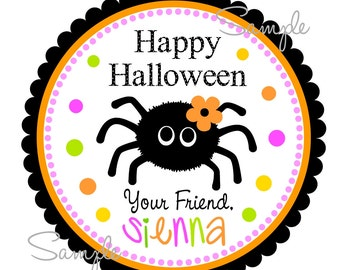 Printable Halloween Tags, Halloween Stickers, Little Spider Labels, Baby Spider hang tags, Halloween Gift Tags, Digital file