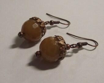 Yellow Jade Acorn Style Earrings on Bronze wires