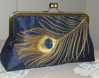 Peacock Feather Embroidered Silk Clutch/Purse/Bag..Navy Blue w/Gold/Silver/Long Island Bride/Wedding Gift..Free Monogram