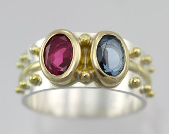 2 Stone Oval Wrap Ring 14k (Mother Ring) (Made to Order)