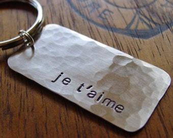 Je T'aime KeyChain, I Love You in French, Silver Nickel, Hand Stamped, Valentines Day, Boyfriend Gift, Girlfriend Gift, I Love You Key Chain