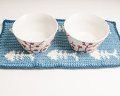 Cat Placemat & Nap Mat Set, Country and Windsor Blue, Ready to Ship