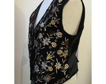 Vintage velveteen embroidered Boho womens vest