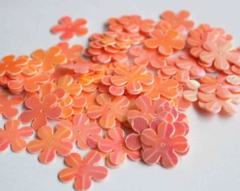 50 pcs Rainbow Pinkish Peach Color Flower Sequins / 2cms size/KBBF500/