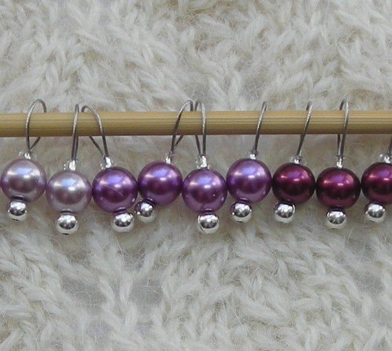 Lace Knitting Stitch Markers : Sock Lace Knitting Stitch Markers - Tiny Simple Purple Plum Wine Pearls - sna...