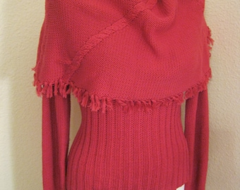 Vintage pink chunky ribbed sweater,  capelet fringed neck sweater, cowl neck carnation pink sweater, size Small made Hong Kong