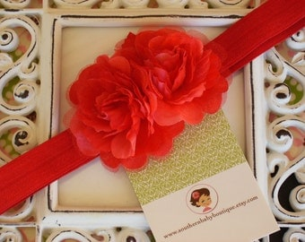 NEW ITEM----Boutique Double Rose Organza Silk Flower Headband-----RED-----