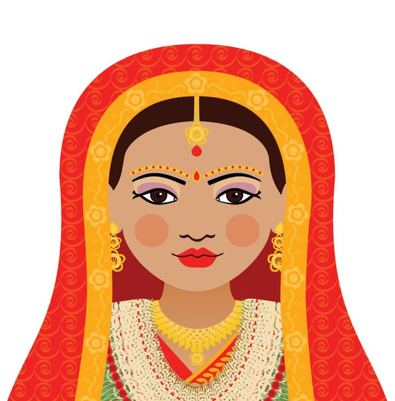 Nepalese Doll Art Print with traditional folk dress, matryoshka