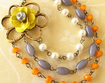 Statement Necklace Multi Strand Necklace Flower Necklace Grey and Yellow Jewelry Bridesmaid Gift For Her