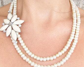 Bridesmaid Jewelry Bridal Jewelry Pearl Necklace Wedding Jewelry Statement Necklace Bridal Necklace