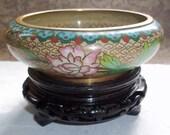Vintage 1950s Chinese Cloisonne Bowl on Pedestal
