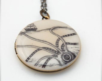 Octopus Squid and Ship Locket Necklace Nautical Themed Unisex Jewelry Round Pendant Octopus Jewelry