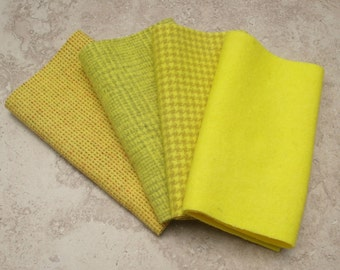 "Hand Dyed Felted Wool Fabric, LEMON DROP, Four 6.5"" x 16"" pieces in Clear Yellow, Perfect for Rug Hooking, Applique and Crafts"