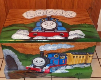 Custom Designed toy box Inspired by Thomas the train with Monogram or Name, kids furniture, art and decor