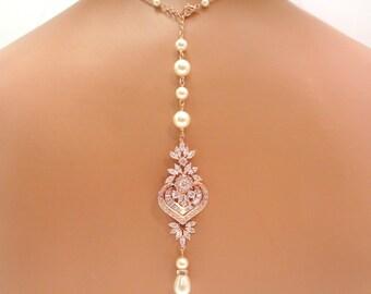 Bridal backdrop necklace, Rose gold backdrop necklace, Bridal necklace, Bridal jewelry, Pearl necklace, Art Deco, Crystal necklace, EMMA