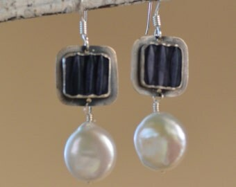 Keishi Pearl Earrings. Sterling Silver. White Button Pearl Earrings.  Navy Blue Square Resin.  Gemstone Earrings.