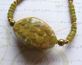 Pea Green Necklace-stone and resin necklace with real peas, upcycled, eco-friendly, 20 3/4 inches or 53 cm