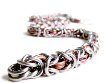 Chainmaille Necklace - Copper & Stainless Steel - Byzantine Pattern