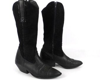 Cowboy Boots Black Suede Leather Vintage 1980s Women's size 6 1/2