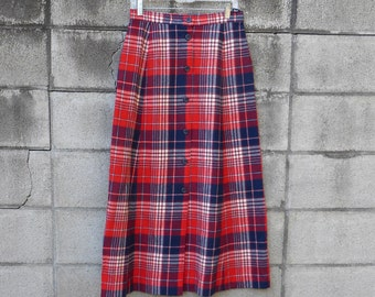 Pendleton Plaid Skirt Vintage 1960s Red Wool Blue White Cream Maxi Women's