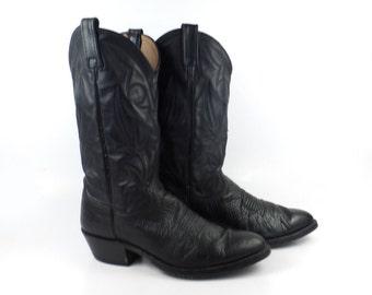 Vintage Cowboy Boots 1980s Dan Post Black Leather Men's  size 9 D