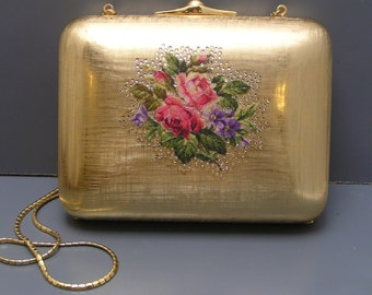 Signed Judith Leiber Hard Case Rhinestones Petit Point minaudiere clutch Purse