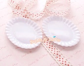 Miniature Saucer Plate / Plastic White Plate / Miniature Plate with Hole / Oval Plate - 5pcs