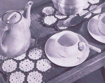 Vintage Crochet PATTERN 7012 Pebbly Popcorn Hot Pad Plate Mat 1950s PDF Instant Download